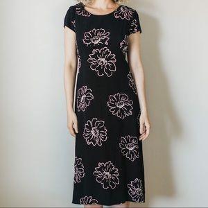 Vintage 90s Black Textured Floral Dress